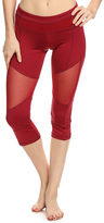 Electric Yoga Red Mesh-Accent Color Block Capri Leggings