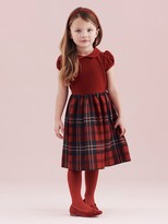 Oscar de la Renta Holiday Plaid Wool Gathered Sleeve Dress