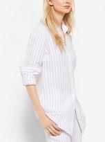 Michael Kors French-Cuff Striped Linen Shirt