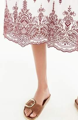 J.Crew Embroidered Flutter Sleeve Midi Dress