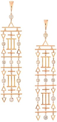 Etho Maria Geometric 18K Rose Gold & Brown Diamond Chandelier Earrings