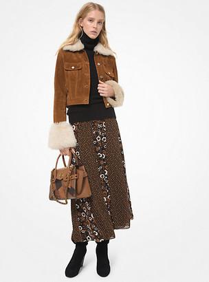 MICHAEL Michael Kors MK Shearling Trim Suede Jacket - Luggage Brown - Michael Kors