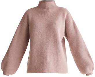 Paisie High Neck Jumper With Balloon Sleeves In Blush Marl