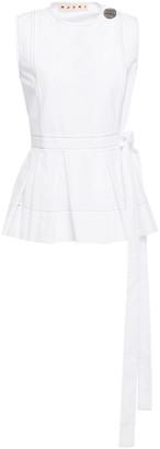 Marni Button-embellished Cotton-poplin Peplum Wrap Top