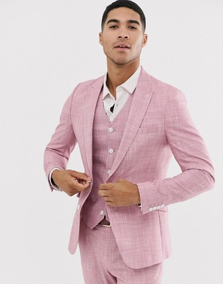 Hatch ASOS DESIGN wedding skinny suit jacket in rose pink cross