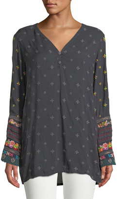 Johnny Was Plus Size Embroidered-Trim Long-Sleeve Tunic