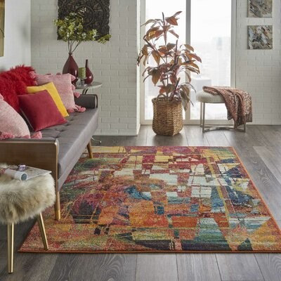 Ivy Bronx Velva Abstract Red Orange Blue Area Rug Rug Size Rectangle 5 3 X 7 3 Shopstyle