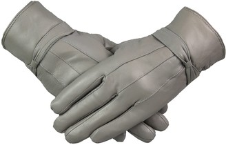 By Neki Womens Ladies Leather Gloves With Bow Design Warm Winter Fleece Lined All Size M L XL (Grey X-Large)