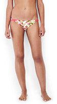Lands' End Women's Reversible Low Waist Bikini Bottoms-Rose Mist Tropical/Olive