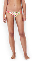 Lands' End Women's Reversible Low Waist Bikini Bottoms-White Floral/Sunset Coral