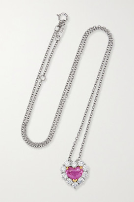 Bayco Platinum And 18-karat Gold, Sapphire And Diamond Necklace - Silver