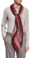 Loro Piana Maxi Carré Paisley Cashmere & Silk Scarf, Red