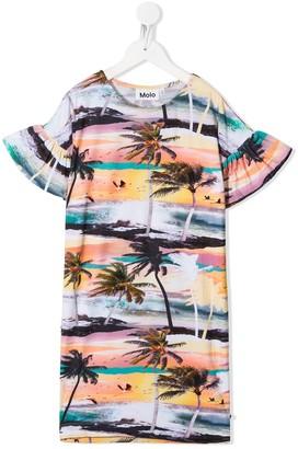 Molo Kids Coral tropical-print dress
