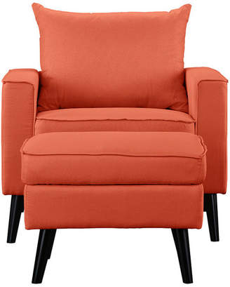 Divina Casa Contemporary Modern Living Room Accent Chair With Ottoman, Orange