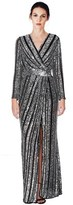 Parker Joyce Sequin Faux Wrap Gown.