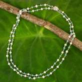 White Pearl and Apatite Strand Necklace with Flower Clasp, 'Regal Water Lily'