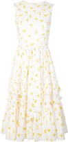 Carolina Herrera Printed Tiered Ruffled Dress