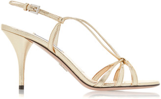Prada Women's Metallic Leather Slingbacks - Gold - Moda Operandi