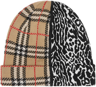 Burberry Kid's Vintage Check and Leopard-Print Beanie
