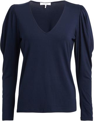 Frame Shirred Long Sleeve T-Shirt