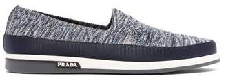 Prada St Tropez Technical Knitted Loafers - Mens - Navy