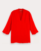 Scotch & Soda Flame Red Crepe V-neck Viscose top with 3/4 Sleeves - Small (UK8-UK10