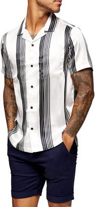 Topman Satin Stripe Short Sleeve Button-Up Shirt
