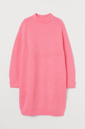 H&M Rib-knit Dress - Pink