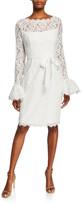 N. Shani Illusion-Neck Bell-Sleeve Lace Sheath Dress w/ Sash