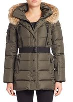 SAM. Fur-Trim Belted Down Puffer Jacket