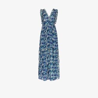 Adriana Degreas Floral Print Silk Chiffon Maxi Dress