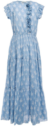 Maje Roses Ruffle-trimmed Printed Cotton-voile Maxi Dress