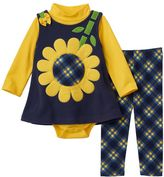 Bonnie Jean Baby Girl 3-pc. Sunflower Jumper, Bodysuit & Leggings Set