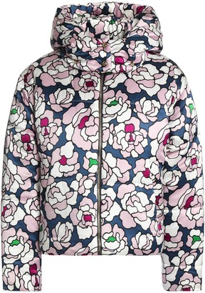Olivia von Halle Quilted Floral-print Silk-satin Hooded Down Coat