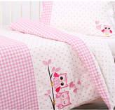 Dreamaker Cotton Sateen Cot Quilt Cover Set - Pink Owl Design