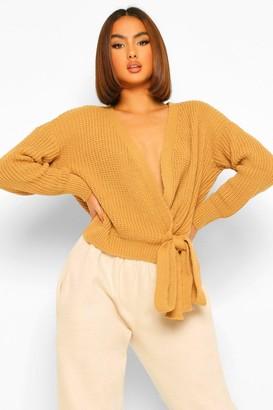 boohoo Petite Chunky Knit Wrap Cardigan