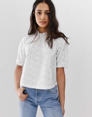 Asos Design DESIGN broderie top with high neck