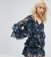 Religion Tiered Smock Dress In Celestial Print