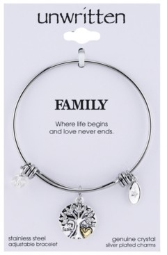 Unwritten Silver-Tone Tree Adjustable Bangle Bracelet in Stainless Steel with Silver Plated Charms