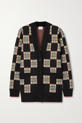 Burberry Checked Intarsia Wool-blend Cardigan - Black