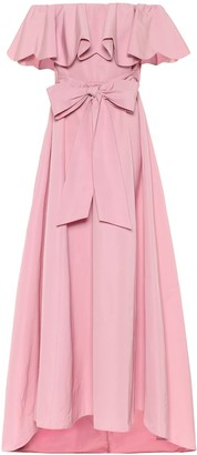 Valentino off-shoulder cape gown