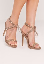 Missguided Studded Strap Barely There Sandal Nude