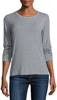 Majestic Paris for Neiman Marcus Soft Touch Long-Sleeve Striped Crewneck Top