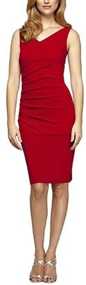 Alex Evenings Short Slimming Sleeveless Sheath Dress with Starburst Tuck Detail (Red) Women's Clothing