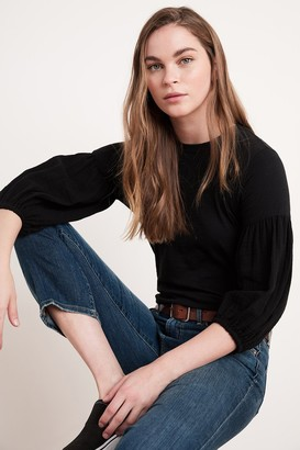 Velvet by Graham & Spencer Alexia Cotton Contrast Puff Sleeve Tee