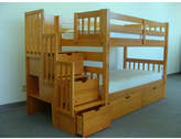 Bedz King Stairway Twin over Twin Bunk Bed with Extra Storage Bed Frame