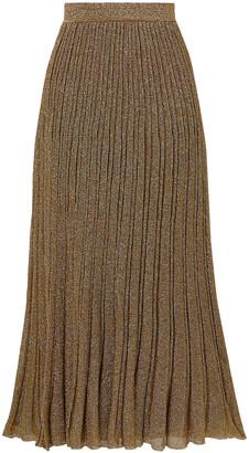 Missoni Striped Metallic Crochet-knit Silk-blend Midi Skirt