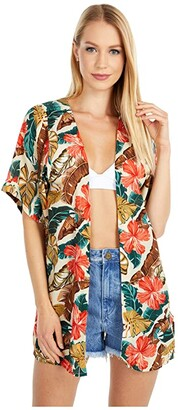 Rip Curl Tropic Coast Kimono (Hot Coral) Women's Clothing