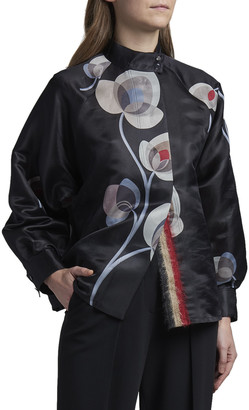 Giorgio Armani Floral-Print Silk Organza Blouse with Mohair Trim