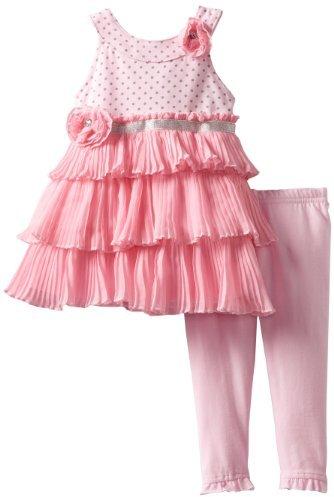 Nannette Baby-Girls Infant 2 Piece Pleated Chiffon Knit Dress And Knit Pant Set